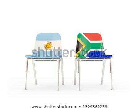 Foto stock: Dos · sillas · banderas · Argentina · Sudáfrica · aislado