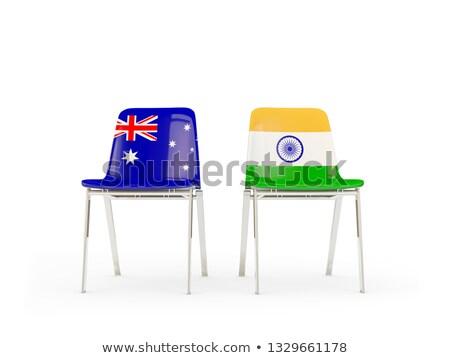 Deux chaises drapeaux Australie Inde isolé Photo stock © MikhailMishchenko