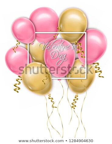 Valentine day card with balloons Vector realistic. Pink and yellow joyful colorful postcards Stock photo © frimufilms