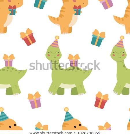 dinossauro · desenho · animado · paisagem · animais · dragão · felicidade - foto stock © colematt
