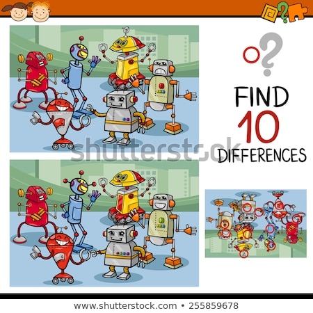 differences game with happy cartoon robots Stock photo © izakowski