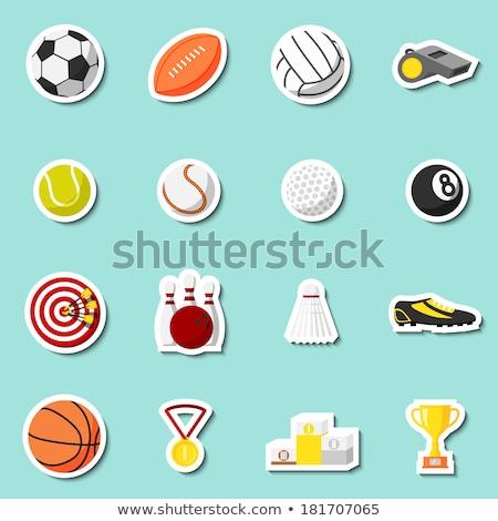 Badminton labels and icons set ストックフォト © netkov1