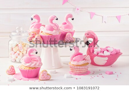 Pink flamingo cupcake for the Birthday party  Stock photo © dashapetrenko
