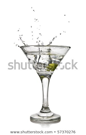 Cool classic dry martini with olives and ice cubes isolated on white Stock photo © dla4