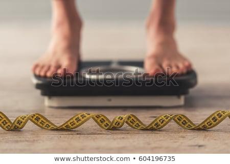 excesso · de · peso · mulher · medir · em · roupa · interior · corpo - foto stock © andreypopov