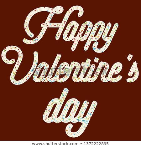 Tentant typographie cerise texte heureux saint valentin Photo stock © balasoiu