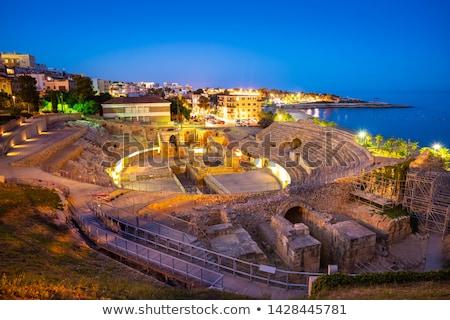 Stok fotoğraf: Amphitheater Of Tarragona At Sunset In Catalonia