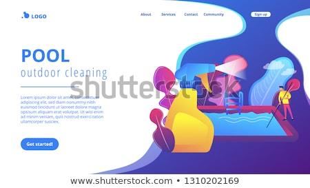 Basen zewnątrz czyszczenia app interfejs szablon Zdjęcia stock © RAStudio