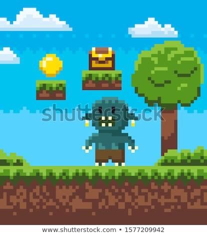 ピクセル ゲーム 宝 コイン グラフィックス ストックフォト © robuart