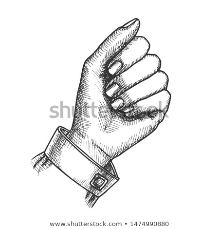 girl hand gesture holding umbrella sign ink vector stock photo © pikepicture