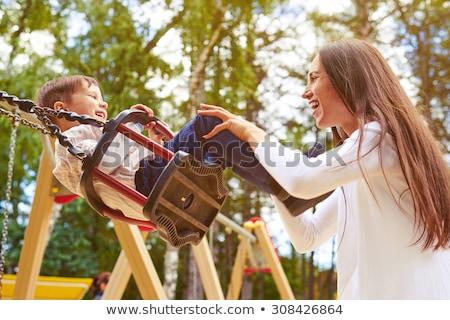 Mutter schieben Sohn Swing Frühling Jahreszeit Stock foto © Lopolo
