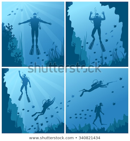Diver in Flippers and Mask Diving, Deep Sea Waters Stock photo © robuart