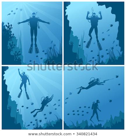 Diver maschera diving profondità mare top Foto d'archivio © robuart