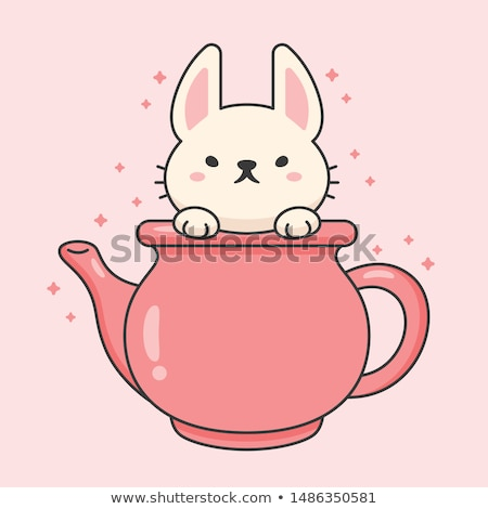 Vector character of cute rabbit in a ceramic tea kettle Stock photo © amaomam