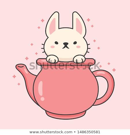 Wektora charakter cute królik ceramiczne herbaty Zdjęcia stock © amaomam