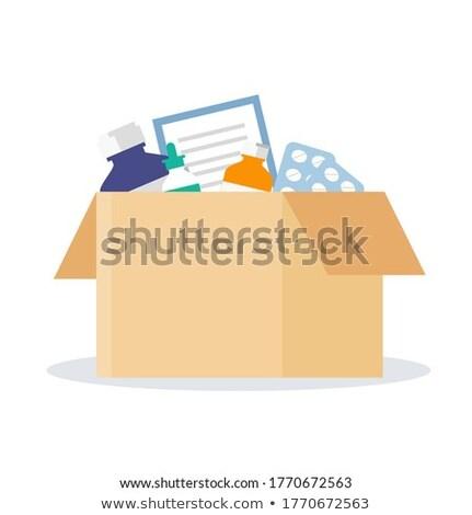 Abrir branco caixa de presente conjunto cápsulas isolado Foto stock © ISerg