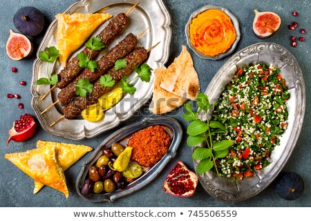 Közel-keleti konyha arab edények kebab menü Stock fotó © netkov1
