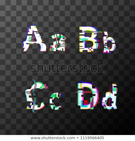 Glitch distortion font. Latin A, B, C, D letters on transparent Stock photo © evgeny89