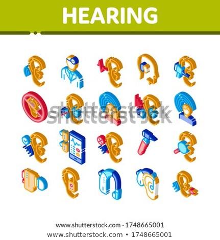 Humanismo sentido isométrica vetor audiofone Foto stock © pikepicture