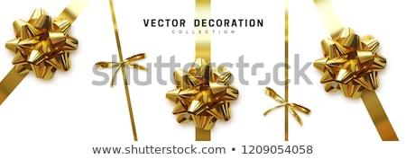 invitation card with gold holiday ribbon and bow stock photo © fresh_5265954