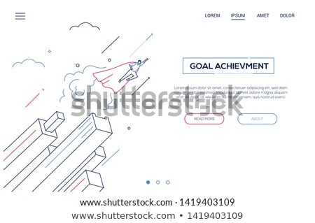 Financial leadership - modern isometric vector web banner Stock photo © Decorwithme