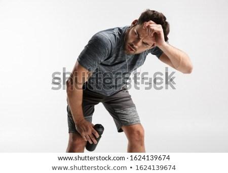 Afbeelding jonge knappe man veldfles Stockfoto © deandrobot
