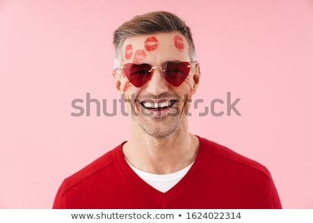 Portret man kus knap kaukasisch Stockfoto © deandrobot
