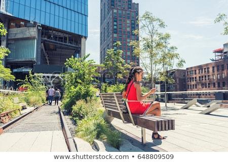 New York City lifestyle woman on mobile phone on urban high line park NYC. Tourist travel vacation g Stock photo © Maridav