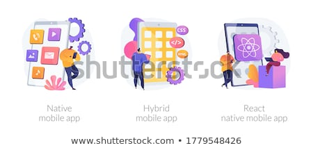Hybrid mobile app abstract concept vector illustration. Stock photo © RAStudio