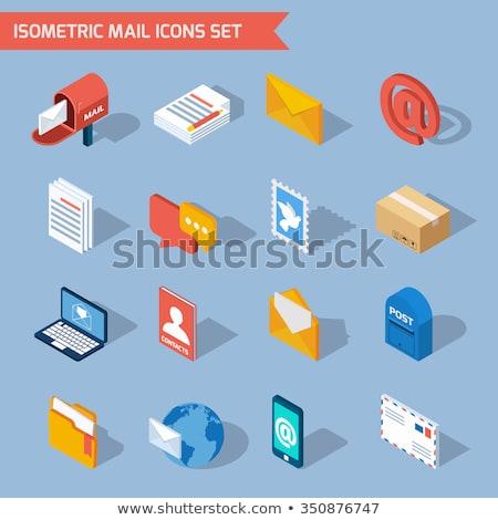 Levelezés izometrikus ikon vektor felirat szín Stock fotó © pikepicture