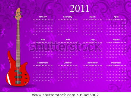 Calendrier américain de vecteur 2011 avec guitare basse Photo stock © Elisanth