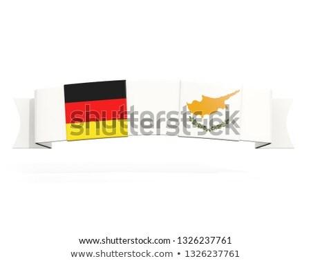 Banner dwa placu flagi Niemcy Cypr Zdjęcia stock © MikhailMishchenko