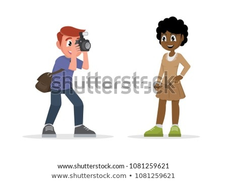 Female photographer taking picture. Vector cartoon girl with photocamera pushing the button. Stock photo © vasilixa