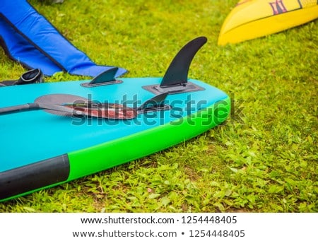 SUP boards lying on the grass by the river, lake or sea Stock photo © galitskaya