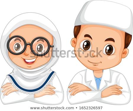 Müslüman kız bilim cüppe beyaz örnek Stok fotoğraf © bluering