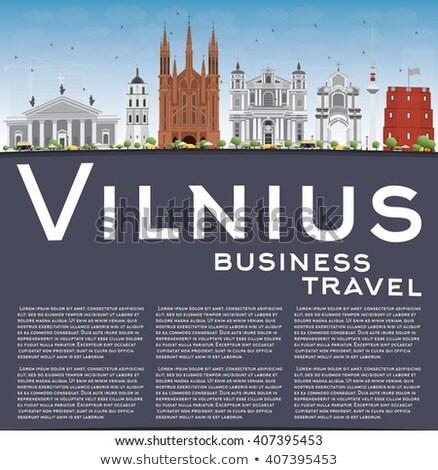 Vilnius Skyline with Gray Landmarks, Blue Sky and Copy Space.  Stock photo © ShustrikS