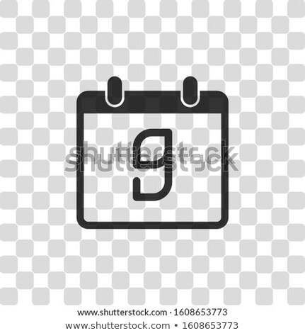 Simple black calendar icon with 9 december date isolated on white Stock photo © evgeny89