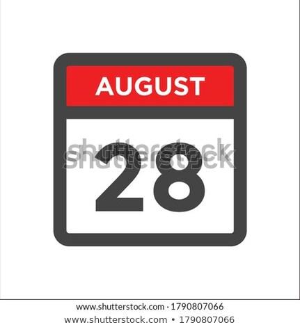Eenvoudige zwarte kalender icon augustus datum Stockfoto © evgeny89