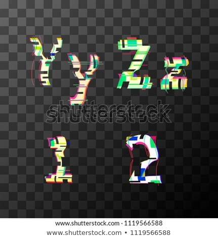 Glitch distortion font. Latin Y, Z, 1, 2 letters on transparent Stock photo © evgeny89