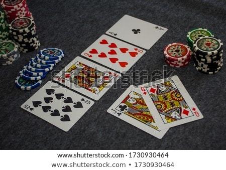 Egyenes póker kombináció szürke árnyék kéz Stock fotó © evgeny89