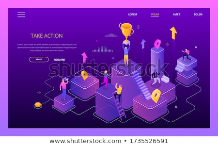 Take action, get your goals - colorful isometric web banner Stock photo © Decorwithme