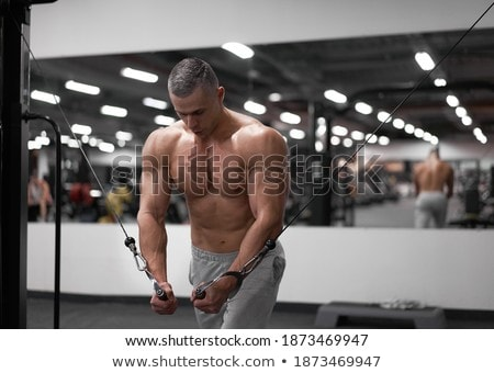 Man strength training in gym doing cable standing fly on fitness tower Stock photo © Maridav
