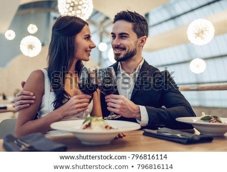 пару · питьевой · закрывается · вино · ресторан · улыбка - Сток-фото © photography33