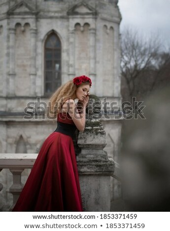 attractive blonde girl in castle park Stock photo © fotoduki