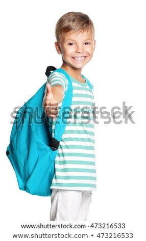 Little boy with backpack shows thumb up sign Stock photo © pekour