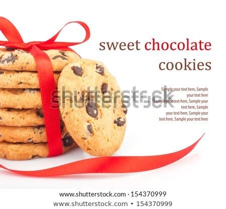 Foto stock: Chocolate · chips · cookies · aislado · blanco