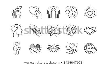 kettő · szerető · ujjak · mosolyog · szív · viszony - stock fotó © simply
