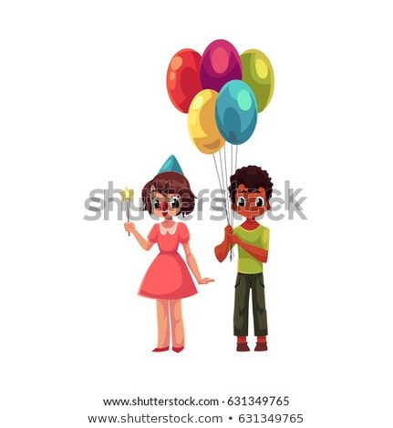 young girl holding bunch of red balloons stock photo © is2