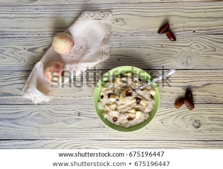Kása datolya tányér randevú szirup reggeli Stock fotó © Digifoodstock