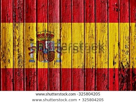Vlag Spanje houten frame illustratie hout ontwerp Stockfoto © colematt